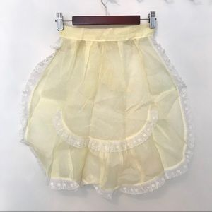 Vtg Sheer Yellow Apron with Lace Trim